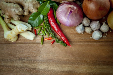 thai spicy food on top of wood table  Stock Photo