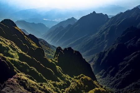 high mountain scene of fansifan peak  in sapa town laocai province northern of vietnam