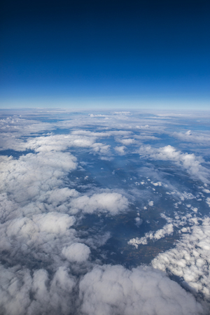 aerial view of cloud scape and clear blue sky Stock Photo