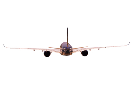 rear view of jet plane flying isolated white background