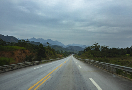 street view of new highway from hanoi to laocai province northern of vietnam