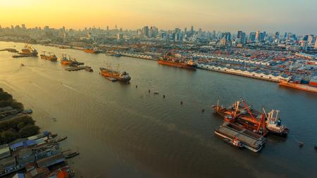 aerial view of klong toey port and chaopraya river in bangkok thailand