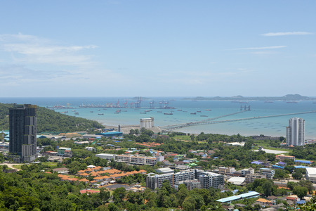 high angle view of sriracha harbor ,sriracha one important of distric in chonburi eastern of thailand