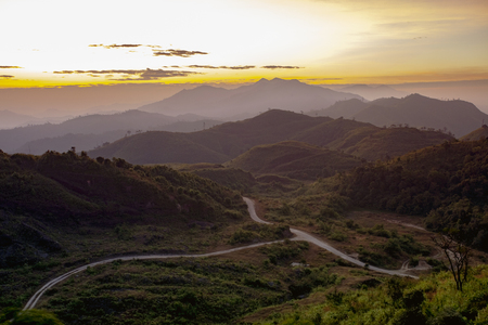 mountain scene and sun rising sky at kanchanaburi western of thailand