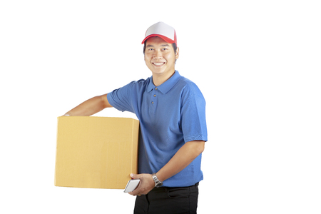 delivery man holding cardbox toothy smiling face with professional service mind isolated white background