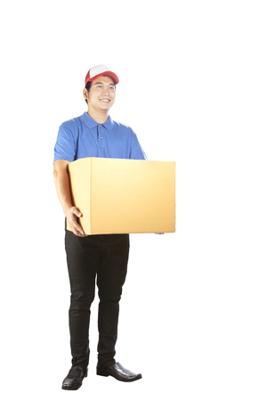 toothy smiling face delivery man holding card box standing isolated white background