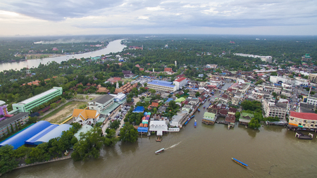 aerial view of amphawa district most popular weekend traveling destination in samuthsongkhram province near bangkok thailand capital