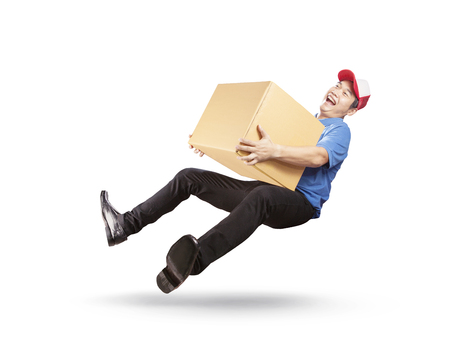 delivery man holding cardbox with happiness service mind islated white background