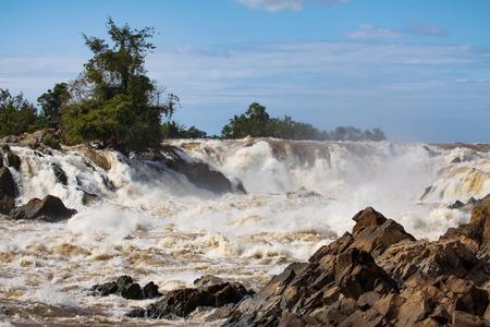 konpapeng water falls or mekong river in champasak southern of laos beatiful natural land mark and destination