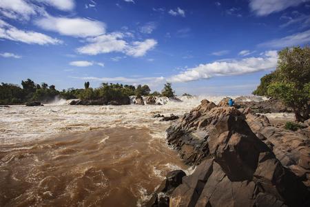 konpapeng waterfall ,mekong river in champasak southern of laos Banco de Imagens