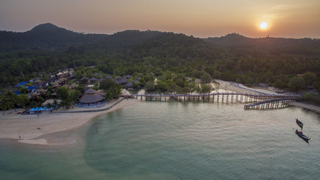 aerial view of sunset sky at payam island andaman sea ranong southern of thailand