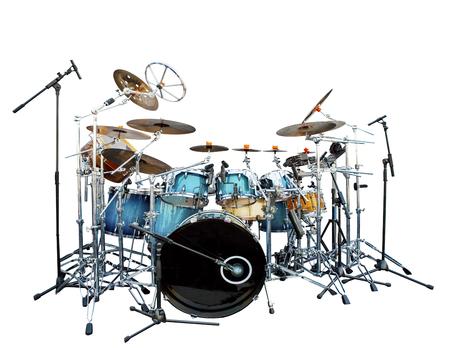 volledige set van akoestische drum instrument isoleren witte achtergrond Stockfoto