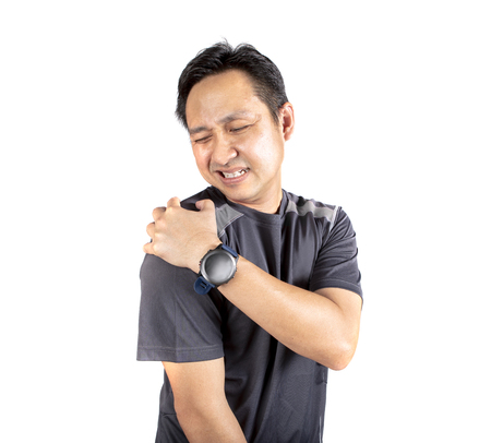 asian sport man pain on shoulder isolated white background