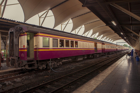 bangkok thailand - march2,2017 : thai trains approach for departure from hau lumphong bangkok station to destination,hau lumphong is most important railway station in heart of thailand capital Editorial