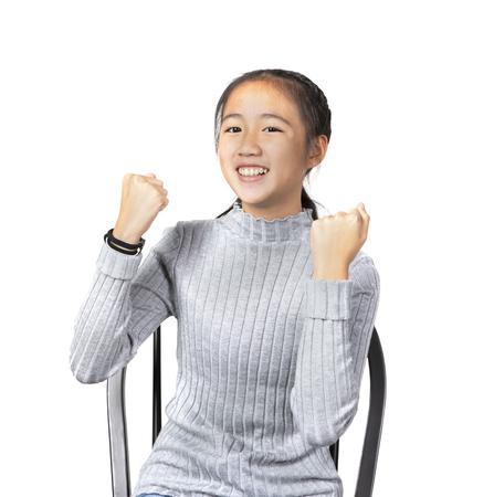 portrait of asian teenager joyful happiness emotion ,successful  acting isolate white background Stock Photo