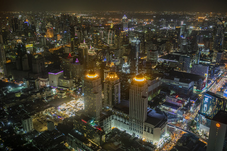 bangkok thailand - august21,2018 : night scene of bangkok skyline from baiyoke tower 2 highest buiding in heart of thailand capital Editorial