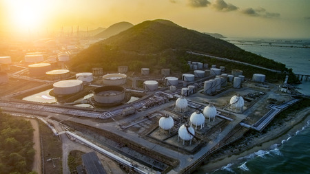 high angle view of oil petrochemical plant and gas storage tank in heavy petrochemi industry plant