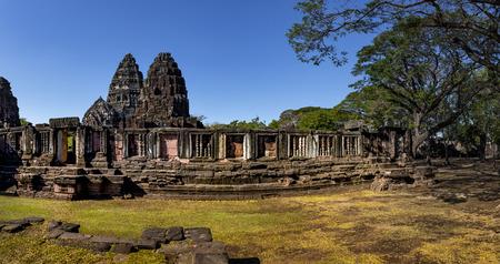 wide angle of prasat hin phimai korat one of most popular history traveling destinaton in nakornratchasima north eastern thailand Фото со стока