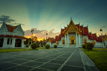 wat benchamabophit temple one of most popular traveling destination in bangkok thailand Stock Photo - 113429411
