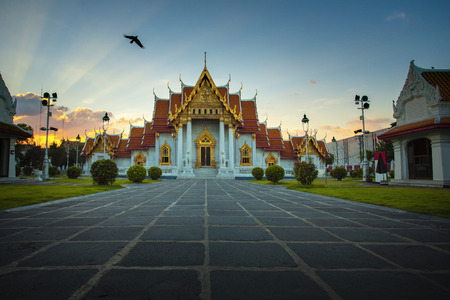 wat benchamabophit ,marble temple one of most popular traveling destination in bangkok thailand Stock Photo - 113429413