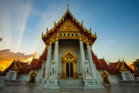 wat benchamabophit temple one of most popular traveling destination in bangkok thailand Stock Photo