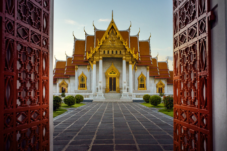 wat benchamabophit ,marble temple one of most popular traveling destination in bangkok thailand Stock Photo - 113429416