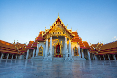 wat benchamabophit ,marble temple one of most popular traveling destination in bangkok thailand Stock Photo - 113429446