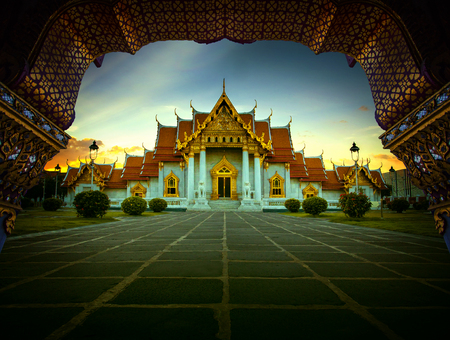 wat benchamabophit ,marble temple one of most popular traveling destination in bangkok thailand Stock Photo - 113429448