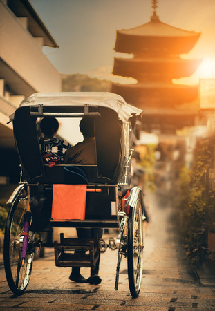 rickshaw in narrow street of yasaka shrine one of most popular traveling destination in kyoto japan