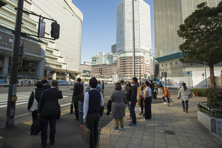 osaka japan - november11,2018 : unidentified people waiting for crossing road in osaka city ,osaka is most important city in middle south of japan Editorial