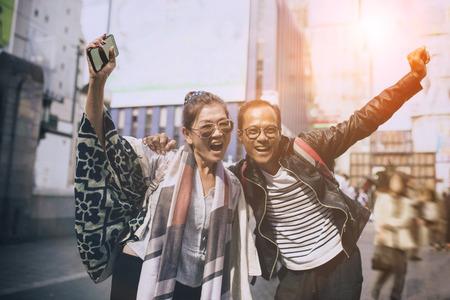 couples of asian traveller happiness emotion at dotonbori most popular traveling destination in osaka japan Stockfoto