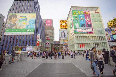 dotonbori osaka japan - november8,2018 : large number of tourist attraction to dotonbori district one of most popular shopping destination in osaka japan Editorial