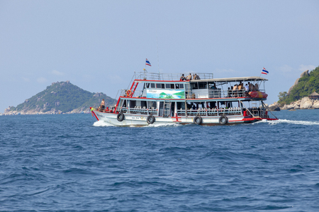 koh tao surathani thailand - march7,2018 : scuba diving boat boading to dive destination in koh tao surathani southern of thailand
