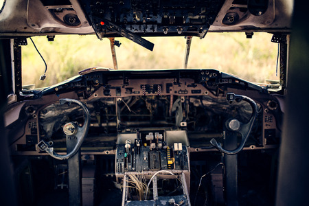 damage old commercial plane cockpit Фото со стока