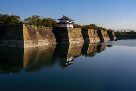 deep water pool outside boundary of osaka castle japan