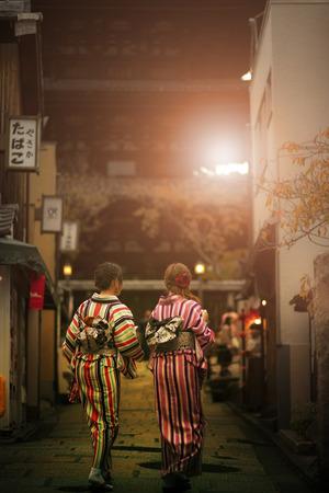 japanese woman wearing tradition kimono clothes walking in yasaka shrine street kyoto japan