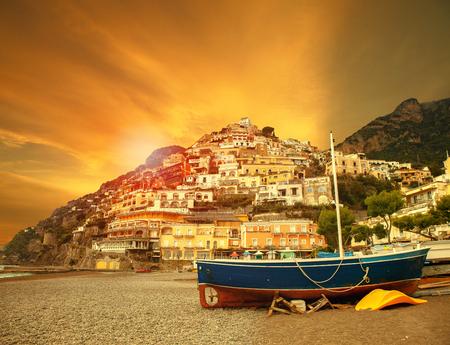beautiful scenic of positano beach sorrento town south italy important traveling destination of mediterranean sea