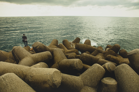 rock coast mediterranean sea amalfi town south italy