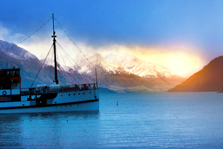old steam boat in lake wakatipu queenstown most popular traveling destination in south island new zealand