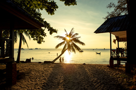 beautiful sunset sky at koh tao island one of most popular traveling destination in southern of thailand