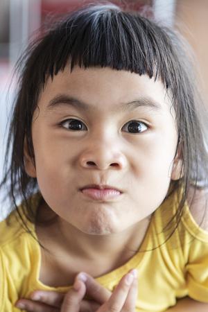 funny face of asian lovely children 스톡 콘텐츠