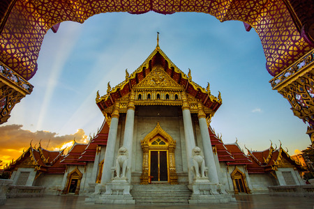 wat benchamabophit ,marble temple one of most popular traveling destination in bangkok thailand Stock Photo - 119350600
