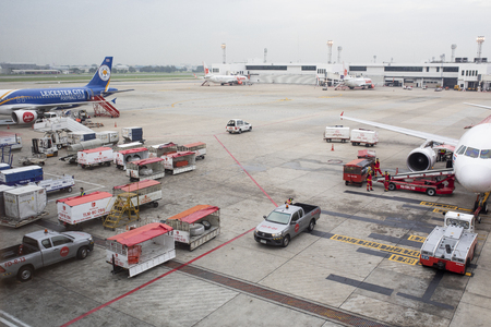 bangkok thailand - november2,2017 : belong and ground service in donmuang airport ,donmuang airport is principle lowcost airline base in thailand capital city