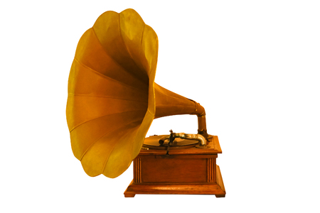 old classic gramophone,music box isolated white background Foto de archivo - 119351247