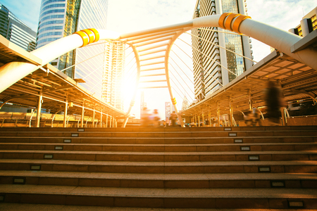 skywalk bridge landmark of bangkok citylife and business center district in thailand capital