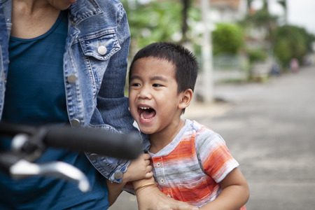 close up face of asian children crying with sad emotion