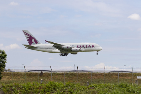 BANGKOK THAILAND - AUGUST 22,2015 : airbus a 380 of qatar airline approaching for landing to savarnabhumi airport ,qatar airline one of arab airliner leader