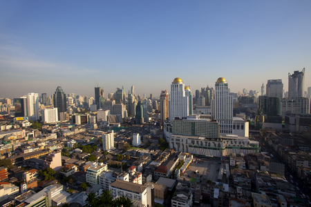 bangkok thailand - april21,2015 : high angle view of bangkok skyscraper at pratunam district one of business center area in heart of thailand capital Redactioneel