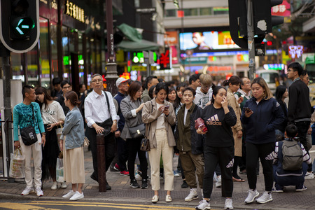 hong kong china - march16,2019 : large number of tourist attraction to tsim sha tsui area one of most popular shopping zone in hong kong