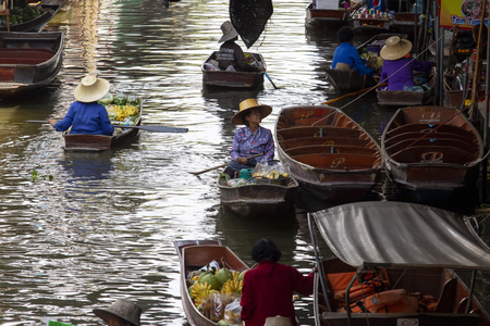ratchaburi thailand - may21,2017 : domestic life in dumneon saduak canal or floating market of ratchaburi one of most popular traveling destination in thailand